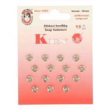 Drukkers opnaaibaar 6 mm nikkel (15 stuks op kaart)