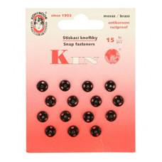 Drukker/drukknoop opnaaibaar 8 mm zwart (15 stuks op kaart)