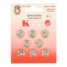 Drukkers opnaaibaar 11 mm nikkel (8 stuks op kaart)