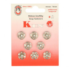 Drukkers opnaaibaar 12 mm nikkel (8 stuks op kaart)