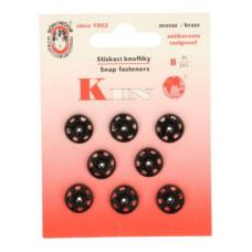 Drukkers opnaaibaar 12 mm zwart (8 stuks op kaart)