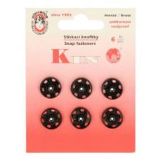 Drukkers opnaaibaar 14 mm zwart (6 stuks op kaart)