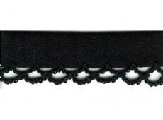 Biaisband zwart met ruches, 12 mm