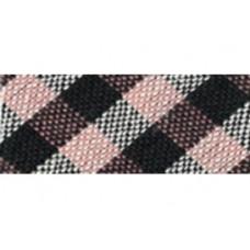 Biaisband 18 mm schuine ruit, zwart-roze, per meter