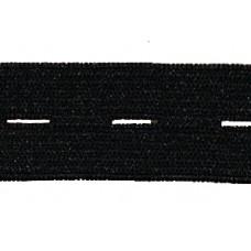 Knoopsgatenelastiek, 19 mm, zwart (per meter)