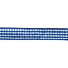 Satijnlint geruit, 10mm blauw (blauw) per meter