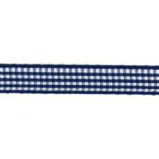 Satijnlint geruit, 10mm blauw (donkerblauw) per meter