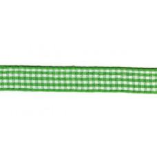 Satijnlint geruit, 10mm groen per meter