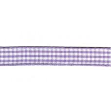 Satijnlint geruit, 10mm lila per meter