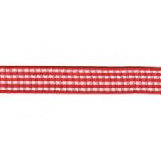 Satijnlint geruit, 10mm rood per meter