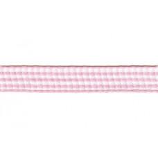 Satijnlint geruit, 10mm roze (baby roze) per meter