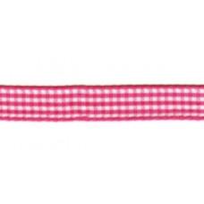 Satijnlint geruit, 10mm roze per meter