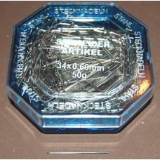 Staalvernikkelde spelden 34 mm (50 gram)