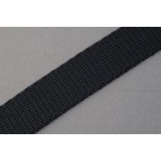 Tassenband - polypropyleen, 20mm, zwart, per meter