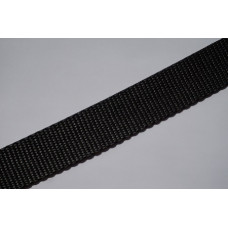 Tassenband - polypropyleen, 25mm, zwart, per meter